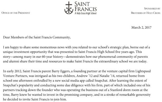 Der Brief der Schule an die Community nach dem Börsengang Snaps.