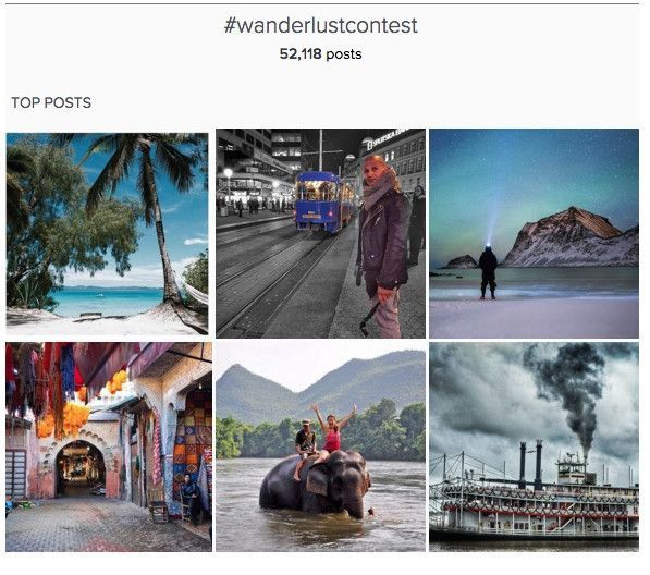 Erfolgreicher Einsatz von viseuellem UGC mit dem Hashtag #wanderlustcontest von National Geographic, Screenshot Hootsuite