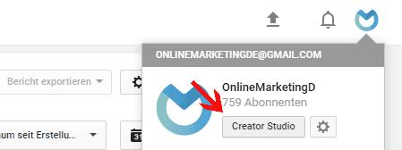 Zu den YouTube Analytics gelangst du über das Creator Studio.