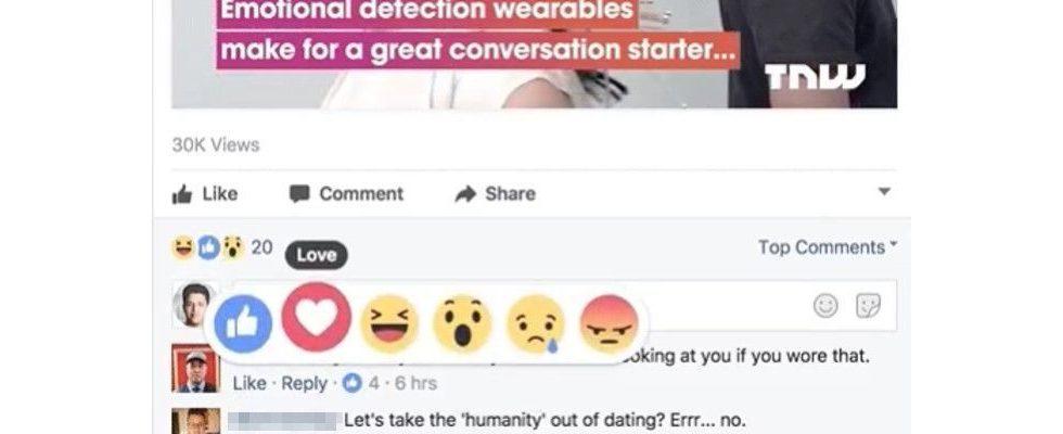 Facebook Reactions jetzt in den Kommentaren verfügbar
