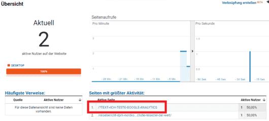 Google Analytics - Einrichtung - Tracking Test