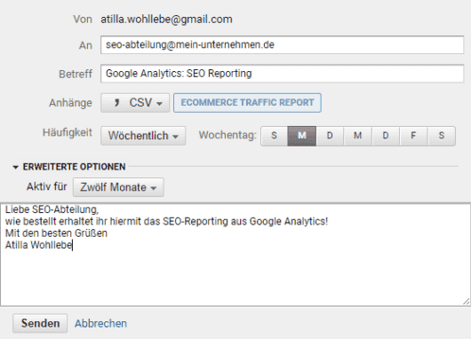 Google Analytics personalisierte Berichte per E-Mail versenden als Export