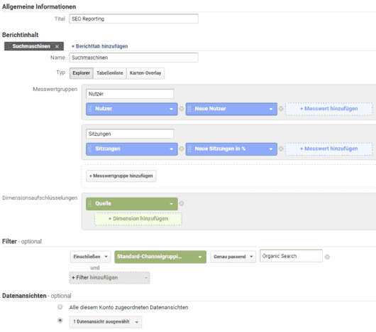Google Analytics personalisierte Berichte einsetzen für SEO Reporting