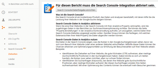 Search Console in Google Analytics einrichten