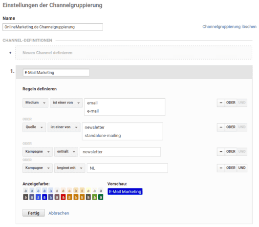 Google Analytics - Anlegen einer benutzerdefinierten Channelgruppierung zum Kampagnentracking