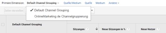 Google Analytics - utm - Benutzerdefinierte Channelgruppierung - Auswahl