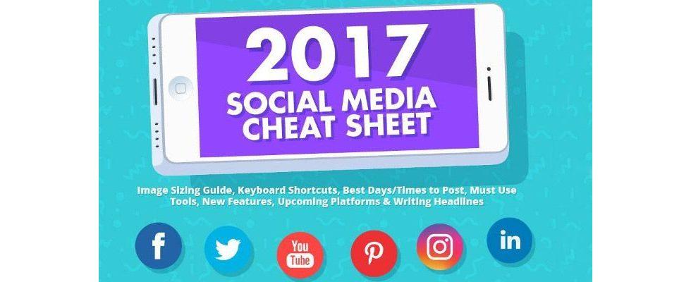 Der aktuelle Social Media Cheat Sheet 2017: Die richtigen Formate für die wichtigsten Social Media Channels