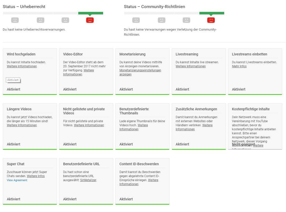 Übersicht von Status und Funktionen eines YouTube-Kanals