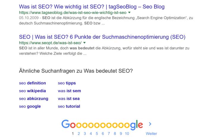 Google Rankings - Verwandte Suchanfragen
