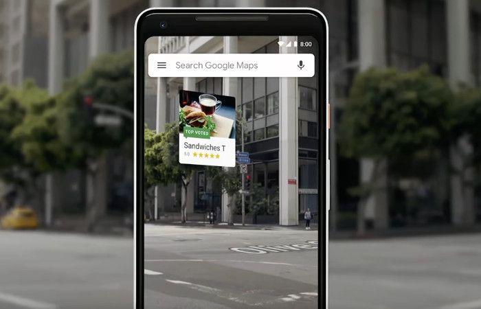 Restaurant mit Bewertung und Bild in die AR-Umgebung bei Google Maps
