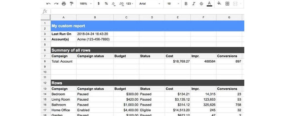 Google AdWords: Add-on für Google Sheets verfügbar