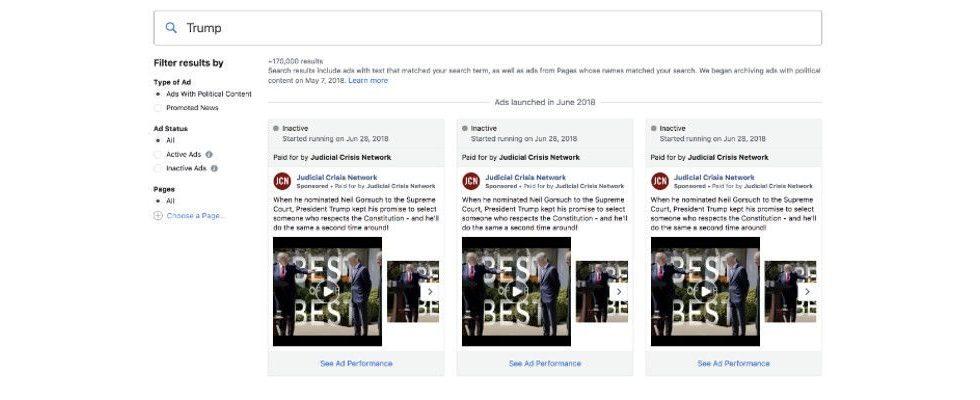 Top-Advertiser auf Facebook: Donald Trump dominiert die politische Werbung