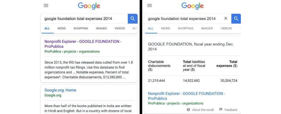 Google bringt Daten in Tabellenform in die Suche – und gewinnt an Macht