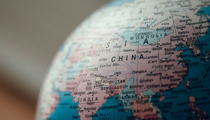 Globus mit China im Fokus
