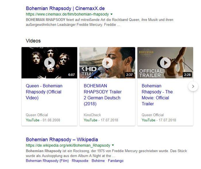 Google testet YouTube Trailer Ads im Karussell in der Suche