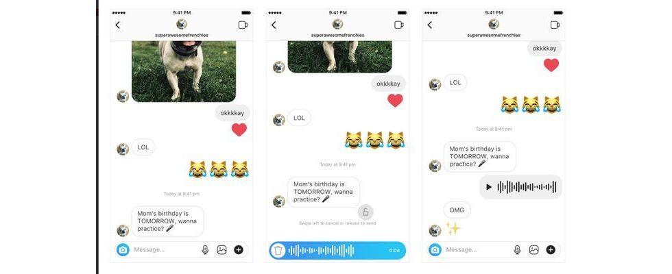 Instagram stattet seine App mit Sprachmitteilungen aus