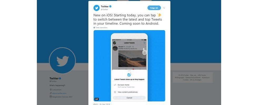Twitter führt Button für chronologische Timeline ein