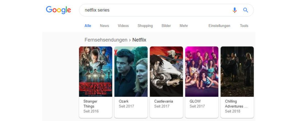 Google experimentiert mit mehr Informationen zu Netflix, Prime Video und Co. in Search