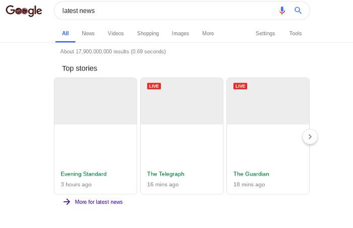 Google News ohne Auszüge, Beschreibungen oder Bilder, Quelle: The Verge