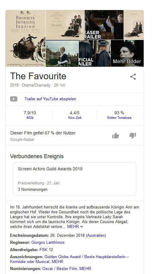 Knowledge Graph zu The Favourite (Ausschnitt) bei Google