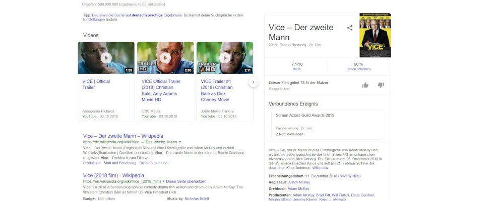 Film Reviews in Googles Knowledge Graph bedrohen Bewertungsseiten