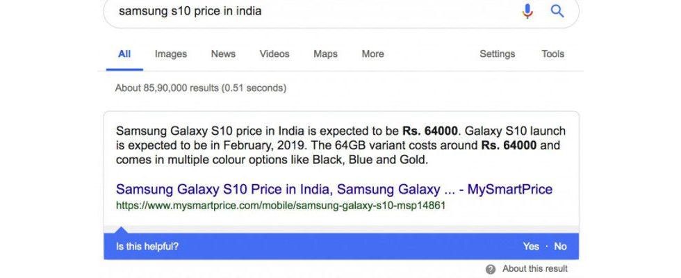 Google testet Feedback-Leiste für Featured Snippets