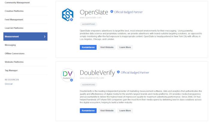 Facebook Brand Safetey-Bereich mit Informationen zu OpenSlate und DoubleVerify