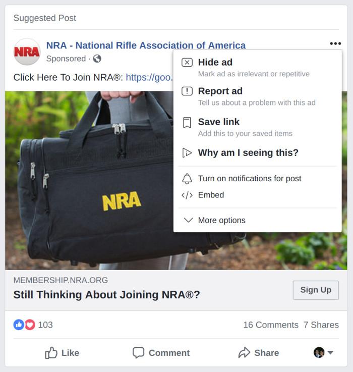 Facebook Ad mit Zusatzinformationen