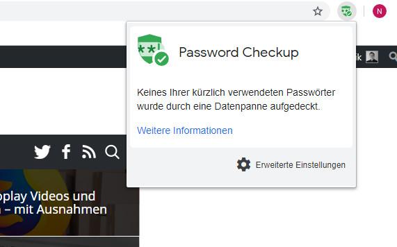 Erweiterung Password Checkup von Google Chrome