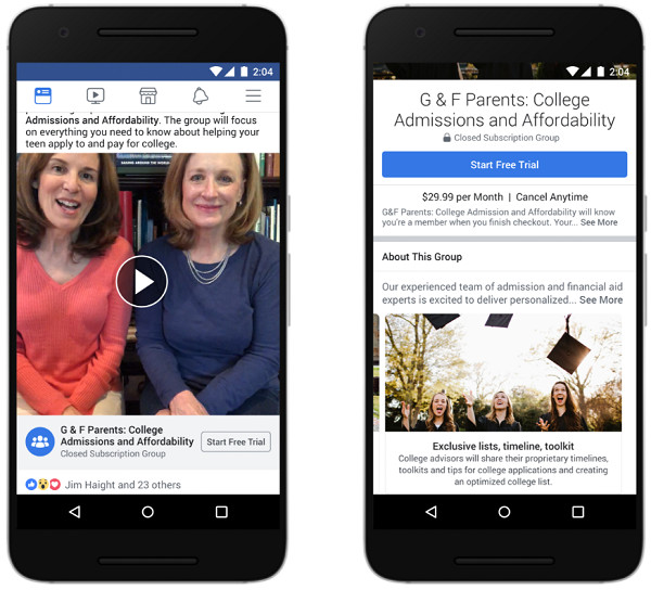 Smartphone mit Facebooks Subscription Groups