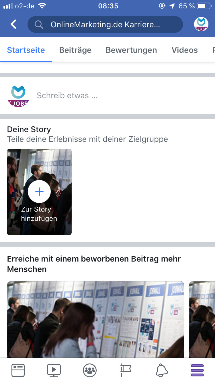 Facebook Stories Feature auf der Fanpage