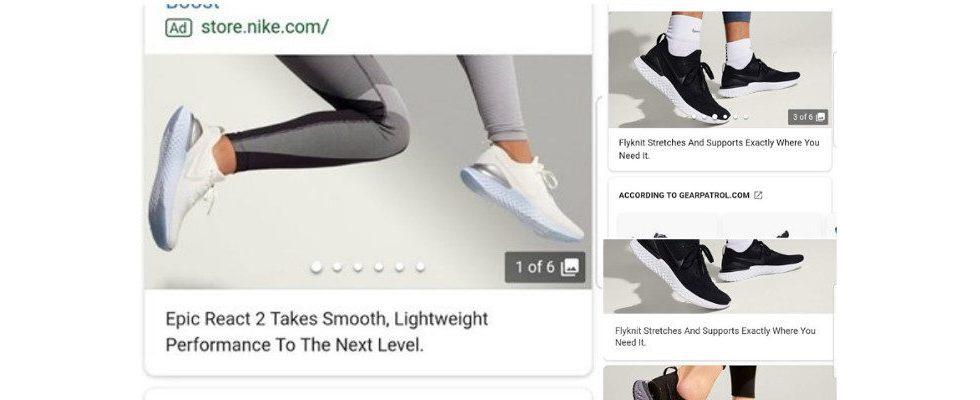 Google testet große Visuals zum Swipen in Search Ads