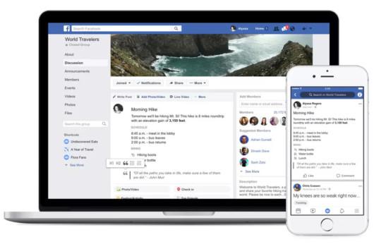 Laptop und Smartphone mit Formatierungstools für Gruppen-Admins bei Facebook