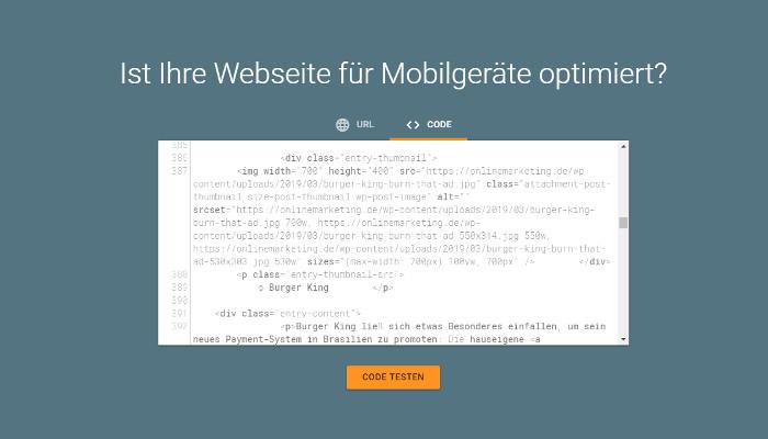 Googles Mobile-Friendly und AMP Test jetzt mit Code Editor