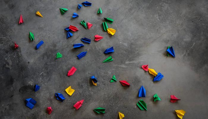 Faltpappen in verschiedenen Farben