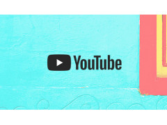 YouTube Schriftzug vor buntem Hintergrund