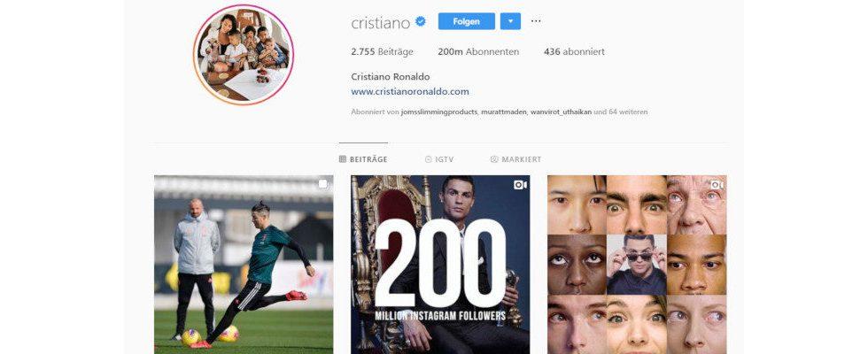 Instagram: Ronaldo knackt Rekordmarke von 200 Millionen Followern – so viele Fakes sind dabei