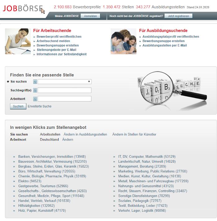 Jobportal der Bundesagentur für Arbeit