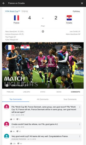 Live-Kommentare zum Fußball-WM-Finale 2018 in der Google-Suche