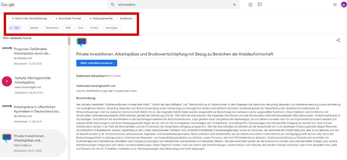 Googles Dataset Search: Neue Suchfilter und Mobile-Zugriff | OnlineMarketing.de
