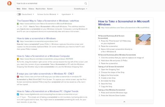 Suchergebnisse bei DuckDuckGo mit Quick Answer