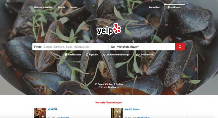 Bewertungsportale wie Yelp sind eine gute Möglichkeit für Bewertungen