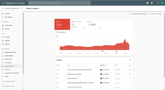 Screenshot: Der Bericht zu Review Snippets in der Search Console,