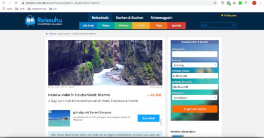 Screenshot: Duplicate Content auf tandem-race.de