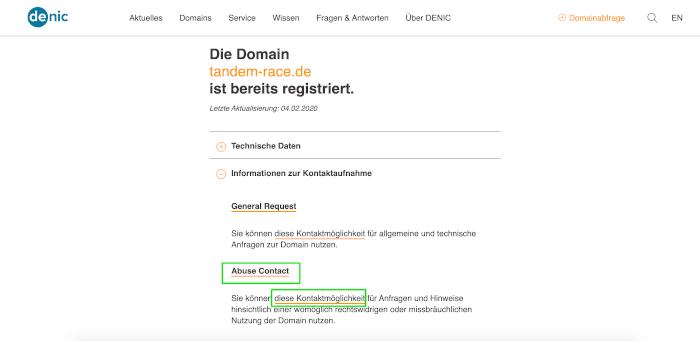 Screenshot der DENIC: Der sogenannte Abuse Contact für die Domains wurde ermittelt