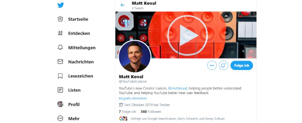 Google startet YouTubeLiaison bei Twitter mit ehemaligem Creator Matt Koval