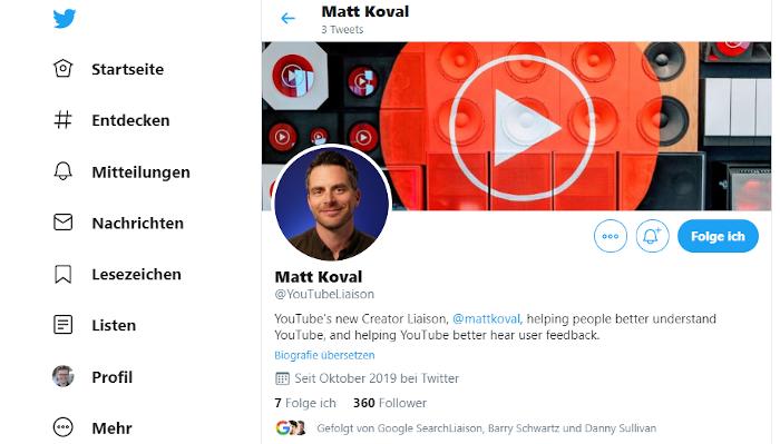 Screenshot Der YouTubeLiaison Account bei Twitter