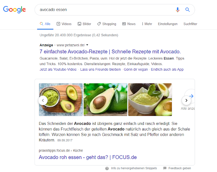 Screenshot: Featured Snippet mit Bilder-Karussell bei Google