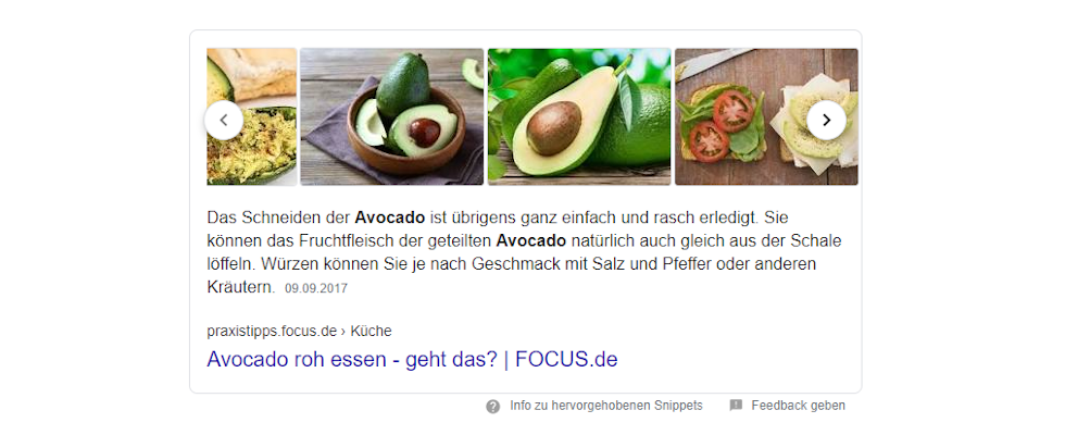 Bilder-Karussell in Googles Featured Snippet jetzt live?