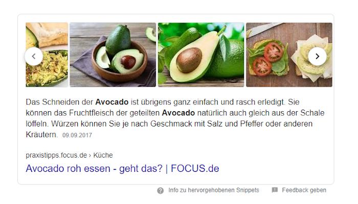 Screenshot: Featured Snippet mit Bilder-Karussell zu Avocados